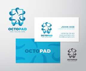 Abstract Vector Logo Business Card Template or Mock-up. Octopus Tentacles Holding a Tablet with Touchscreen. Modern Typography and Realistic Soft Shadows.