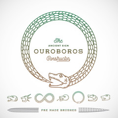 Abstract Vector Infinite Ouroboros Snake Symbol, Sign or a Logo Constructor in Line Style. Tails to make Brushes of Them. Five Different Heads and Two Type Bodies.