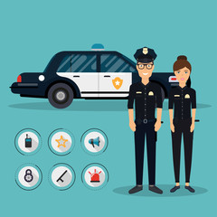 Officer characters with police car vehicle in flat design. Polic