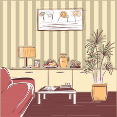 modern interior of living room design.Vector hand drawing illust