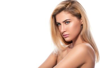 Beautiful blonde on white background