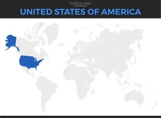 United States of America (USA), United States (U.S.) or America Location Map