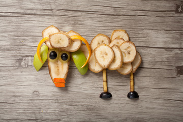 Ram made of banana on wooden plank