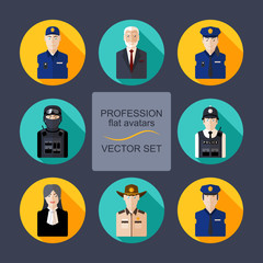 Profession flat avatars with shadows vector set. Police department icons set