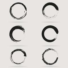 Set of Circles. Vector set of grunge circle brush