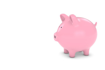 Piggy Bank with White Copy Space 3D Illustration