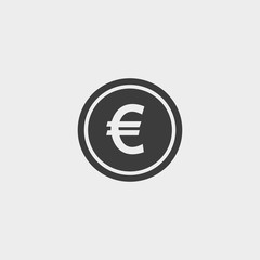 Euro Icon in a flat design in black color. Vector illustration eps10