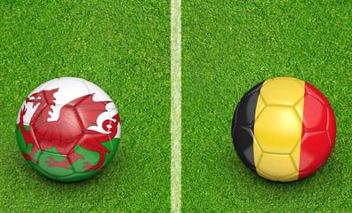 Team balls for Wales vs Belgium football tournament match, 3D rendering