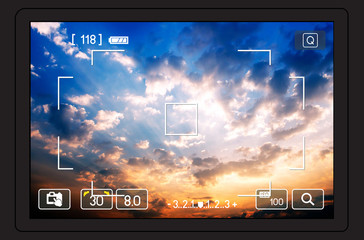 camera viewfinder, shooting a sky background on sunset. nature composition. over bridge
