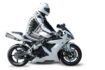 Deurstickers Motorsport Motorcycle racer on white