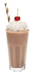 Foto op Plexiglas Milkshake vanilla chocolate milkshake with whipped cream and cherry isolated