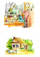 Drawing, watercolor illustration, graphic liner. The grandmother in the village. Grandma drink tea in the kitchen. Wooden house in the village.