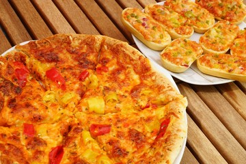 Great fresh pizza with vegetables on a plate
