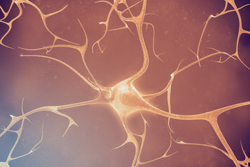 Neurons in the beautiful background. 3d illustration of a high quality