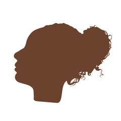 Isolated dark brown color women side view vector logo. Beauty salon logotype on the white background. Hairdresser business card element. Minimalistic female silhouette. Cosmetics icon.