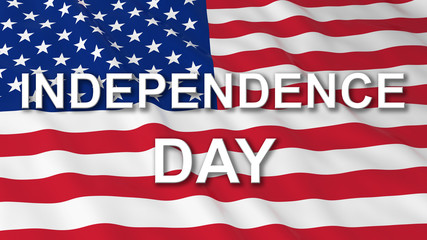 American Independence Day Flag 3D Illustration