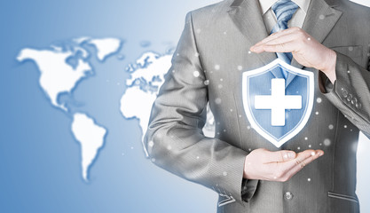 Health protection and insurance. Medical healthcare. Business in health safety. World map background. Worldwide insurance.