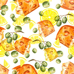 Vintage, watercolor pattern - illustration piece of cheese, olive branches, lemons. Picture made for design