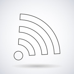 WI-FI icon wireless connection silhouette with shadow, shape isolated on a white background, vector illustration for web design