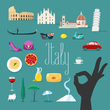Travel to Italy vector icons set. Italian landmarks, cathedral, gondola
