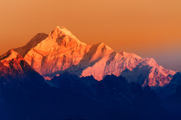 Sunrise on Mount Kanchenjugha, at Dawn, Sikkim