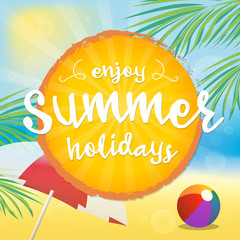 Enjoy Summer Vector Illustration. Text on a Orange Badge and a Beach Background.