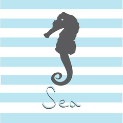 painted in the vector. sea horse on a background of stripes