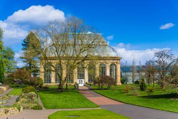 Glasshouse at the Royal Botanical Gardens in public park  Edinbu