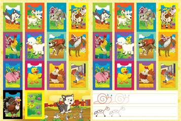 Cartoon page with comparing game - or cards set and additional coloring task - illustration for children