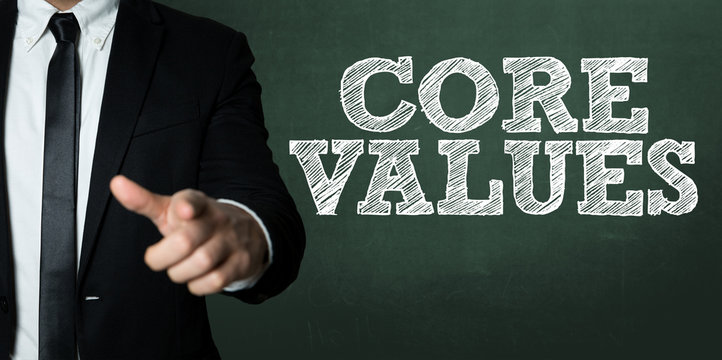 Business man pointing with the text: Core Values