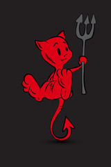 Halloween character cartoon. Little Red Devil