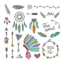 Boho style elements. Hand drawn tribal symbols^ arrows, feathers, wreaths