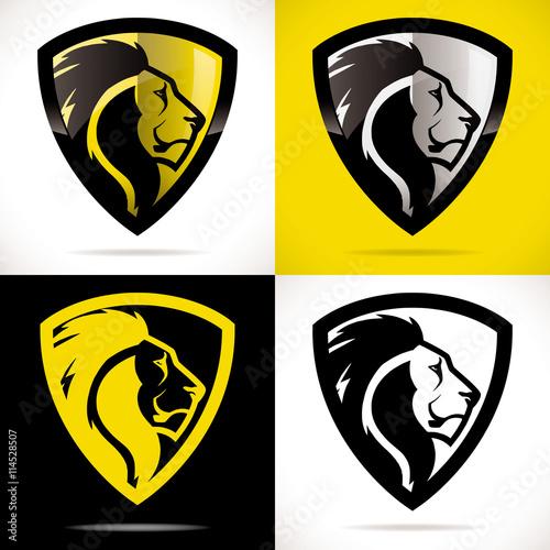 logo s curit lion bouclier jaune fichier vectoriel libre de droits sur la banque d 39 images. Black Bedroom Furniture Sets. Home Design Ideas