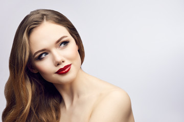 Red lips girl looking to right and smile