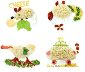 creative vegetable food dinner mouse form