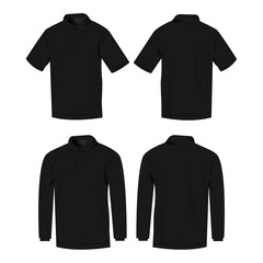 Black polo shirt and polo with long sleeve isolated vector set