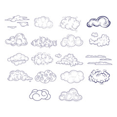 Different Style Hand Drawn Clouds Set
