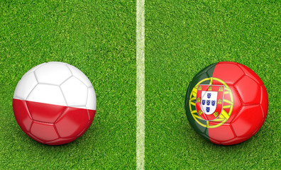 Team balls for Poland vs Portugal football tournament match, 3D rendering