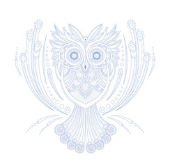 Owl Stylised Doodle Zen Coloring Book Page