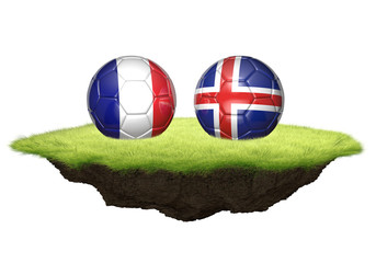 France vs Iceland team balls for football championship tournament, 3D rendering