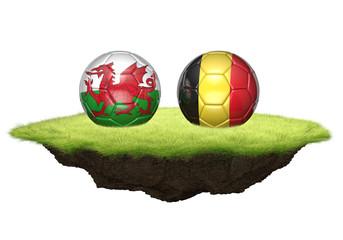 Wales vs Belgium team balls for football championship tournament, 3D rendering