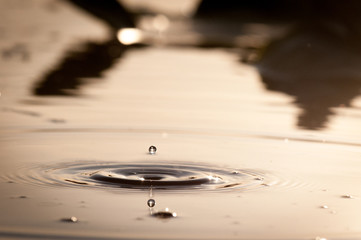 Water Drop Splash And Ripples In Evening Light