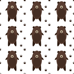 Cute Bears Cartoon seamless pattern in vector.