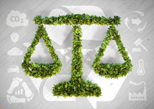 Ecology balance - 3d illustration with ecology icons on grey woo