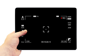 Tablet photography concept. Taking pictures on a tablet. Empty tablet PC in hand isolated on white. Modern digital black camera focusing screen with settings