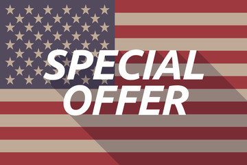 Long shadow USA flag with    the text SPECIAL OFFER