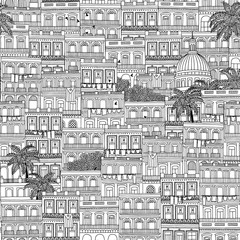 Hand drawn seamless pattern of Cuban style houses and the Capitol building in Havana