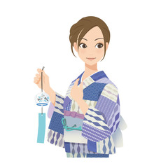 がんばるオンナノコ 浴衣+風鈴