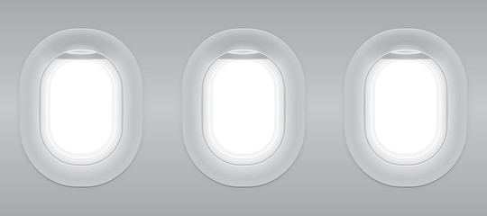 Three gray blank window plane, gray airplane window, gray light template, plain aircraft window white space.