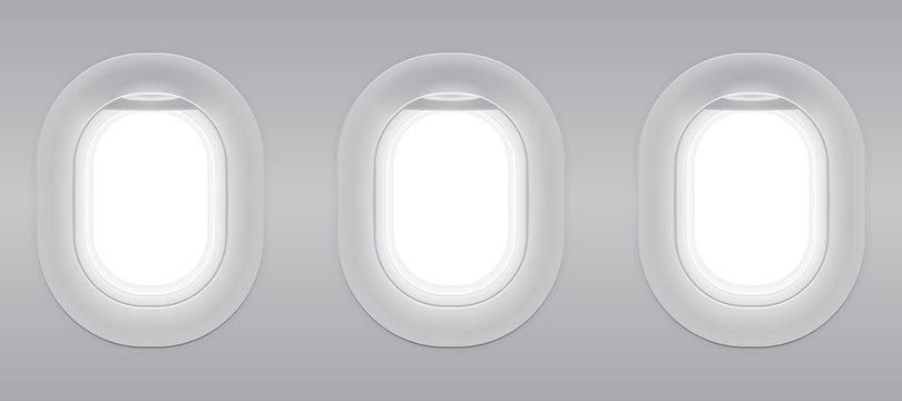 Three gray blank window plane, gray airplane window, gray light template, plain aircraft window white space.